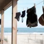 海辺で洗濯物